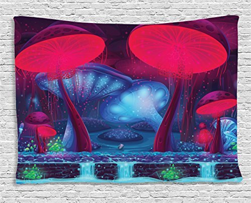 prz0vprz0v Mushroom Decor Tapestry, Magic Mushrooms with Vibrant Neon Lights Graphic Image Enchanted Forest Theme Print, Wall Hanging for Bedroom Living Room Dorm, 60 W X 40 L Inches, Blue and Red -