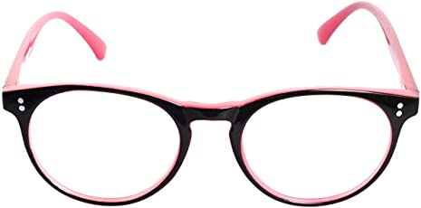 Round Spectacle Frame For Girls|Women.Pink&Glossy Black Color Frame.