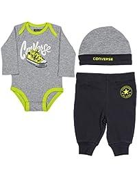 4a840b64c8 Converse Baby Sneaker Creeper Set in Grey Heather Push Stud Fastening