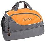 BRUBAKER Active Sporttasche 30 L mit Einem Nassfach, Bodenfach und Einem Fach für Handy und Ähnliches in Grau/Orange