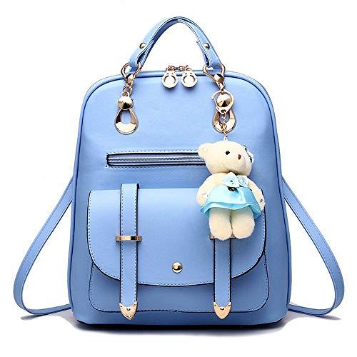 Finewlo Damen Fashion Mini Rucksack Geldbörse niedlich gesteppt Leder Schwarz Rucksack Geldbörse für Mädchen, Blau - hellblau - Größe: Einheitsgröße - Mädchen Gesteppte Geldbörse