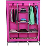 Kurtzy Portable and Collapsible Cloth Wardrobe Closet Storage Organizer (Rose)