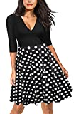 Spec4Y Damen Langarm V-Ausschnitt Blumen Kleider Skaterkleid Cocktailkleid A Linie Knielang Punkt M