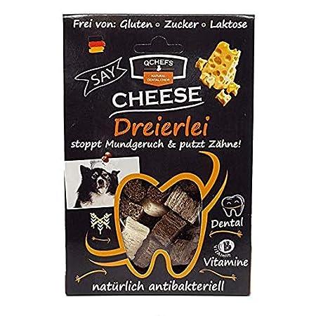 Qchefs Dreierlei |Hunde Zahnpflege-Snack| Zahnsteinentferner| Hundeleckerli- kleine & große & Allergiker| Leckerli gegen…