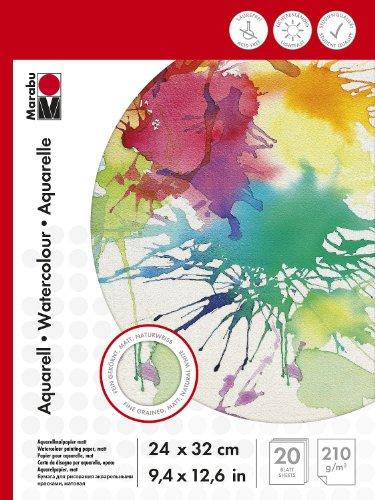 Marabu 161200024 Malblock für Aquarellmalerei, 24 x 32 cm, 210 g