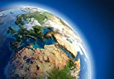Fototapete Blauer Planet 400cm Breit x 280cm Hoch Vlies Tapete Wandtapete Vliestapete Effekt Stoß auf Stoß - Modern Wanddeko, Wandbild, Fotogeschenke, Wand, Wandtapete, Dekoration, Wohnung