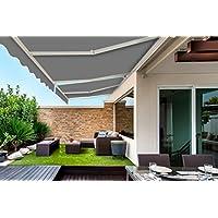 soleil jardin store banne exterieur type store monobloc manuel 4x3m toile polyester grise - Store Banne Exterieur Monobloc Pret A Poser