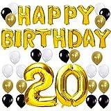 KUNGYO Happy Birthday Lettere Alfabeto Balloon+Numero 20 Mylar Foil Palloncini+24 Pezzi Oro Bianco Nero Lattice Balloons- Perfetto per Decorazioni di Festa di Compleanno di 20 Anni