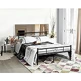 Aingoo Marco de cama doble de metal en negro
