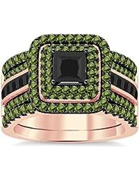 Silvernshine Enhancer Ring Guard & Engagement Ring Set Rose Gold Plated Peridot Sim Diamonds