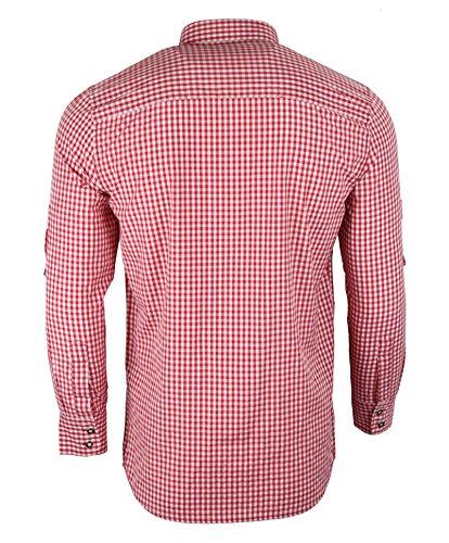 Fuchs Trachtenmoden Herren Trachtenhemd slimfit kariert Rot