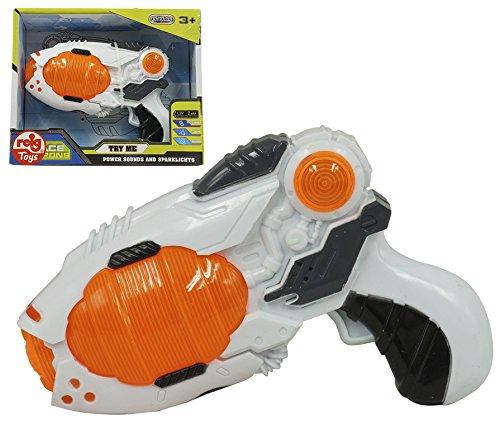 REIG- Pistola Espacial Luz y Sonido 15 Cm, Color Naranja (9893)