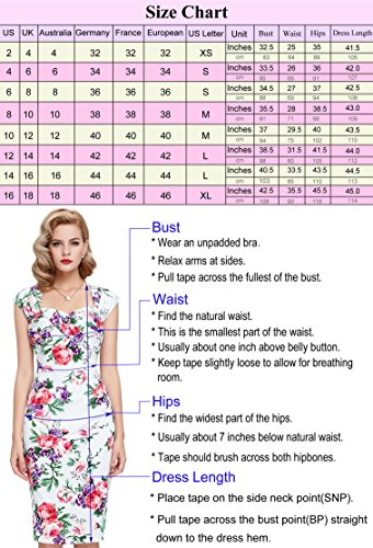 Belle Poque Damen Vintage Rockabilly Kleid 1950er Jahre Bodycon Pencil Kleid BP117-5