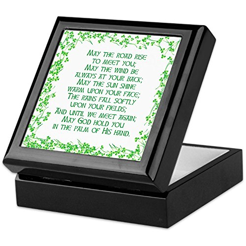 CafePress–Aufbewahrungsbox, irischer Segen, aus beschichtetem Hartholz, mit Samt gefüttert, für Schmuck und Erinnerungsstücke Schwarz