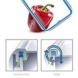 Emsa 508545 Rechteckige Frischhaltedose mit Deckel, 2.6 Liter, Transparent/Blau, Clip & Close -