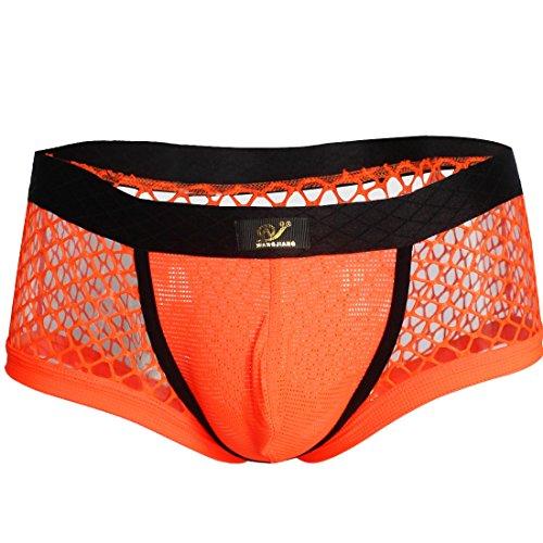 CHICTRY Transparent Mesh Herren Boxershort boxer Briefs Ultrabequem Männer Unterwäsche Unterhose Slip Pants S-XL Orange S