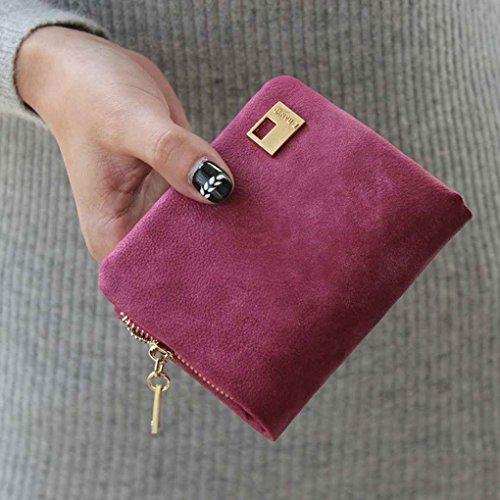 Miaomiao Borsa della borsa della moneta del sacchetto della frizione della borsa della borsa del cuoio della borsa della matita dell'unità di elaborazione delle donne Rosa rossa