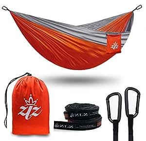 """seul & double prime xl ultra hamac portable camper hamac (randonnée, le camping, la randonnée pédestre, la survie des arbres, ceintures et acier mousquetons yard réglable à 118 """"x79"""" (Orange, 106"""" x 55"""" Single)"""
