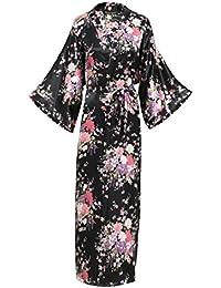 BABEYOND Vestido de satén de seda de quimono Vestido Vestido de quimono floral para las mujeres Pijamas de seda de la boda 135cm de largo