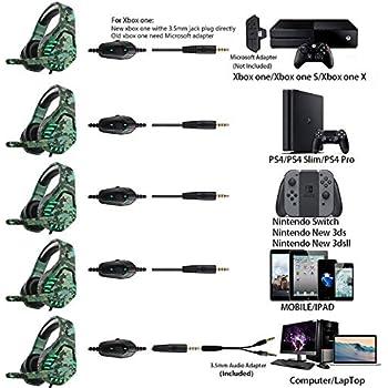 Cuffie da gioco per PS4 Xbox One, con microfono e luce LED, compatibili con Nintendo Switch Games Laptop Mac PS3 (verde mimetico)