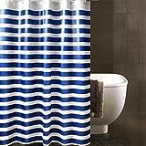 PVC Kunststoff Weiß Duschvorhang, Nein Transparent Blau Streifen Muster Waschbar Wasserdicht Bad Badewannen Mit Genug Ringe Haken , 150x200 cm