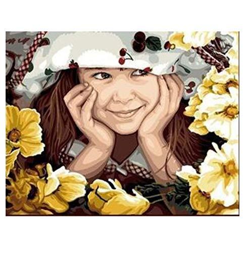 SINABC DIY Diamond Painting Zubehör 5D Mädchen Im Hut Unter Runder Bohrer Kreuzstich Stickerei Mosaik Zu Den Zubehörwerkzeugen Gehören Eine Selbstklebende Leinwandablage Und EIN Punktbohrstift