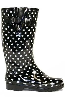 Ladies Black White Dot Wellington Boots - Womens Size 4