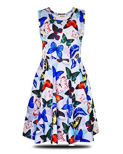 ModaIOO Mädchen Schmetterling Freizeit Ärmelloses Kleid(8013,Butterfly,130)