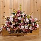 Luyue, Künstliche Seiden-Blumen-Sträuße mit 7Stielen und 21 Rosen, 2Stück Pink coffee - 8