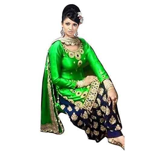 Drashti villa Women\'s fashino Georgette Patiala Suit Dress Material ( vs20_Free Size_Green)