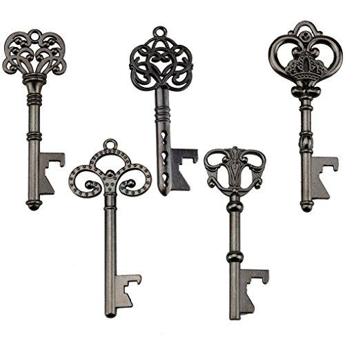 Schlüssel-Flaschenöffner - sortiert Vintage Skelett Schlüssel, Hochzeit Partyzubehör (25 Stück, schwarz)