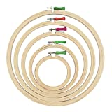 #1: AsianHobbyCrafts Wooden Embroidery Hoop Ring Frame: Set of 5 pcs: for Cross Stitch Craft, Sewing Tool, Embroidery.