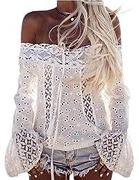 Longra❤ღ☀Off hombro de manga larga de encaje blusa suelta Tops T-Shirt(S/M/L/XL/XXL/XXXL)