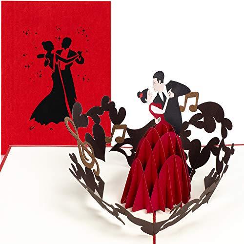 PaperCrush® Pop-Up Karte Tanzen [NEU!] - 3D-Karte mit Tanzpaar für diverse Anlässe (Tanzkurs Gutschein, Hochzeitskarte, Jahrestag) - Handgemachte Geburtstagskarte für Frau oder Freundin