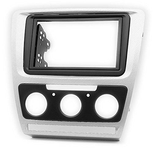 DIN Autoradio Radioblende in-dash car audio installation kit for HEAD UNITS SKODA Octavia 2008-2013 (Manual Air-Conditioning) Grey Carbon (Car Head Unit)