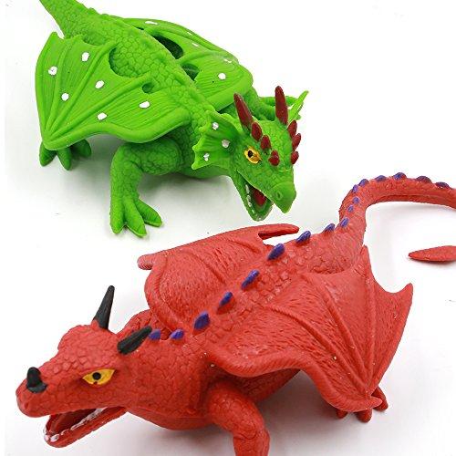Legenda draghi dinosauro giocattoli non tossici set, 20cm, (rosso e verde)
