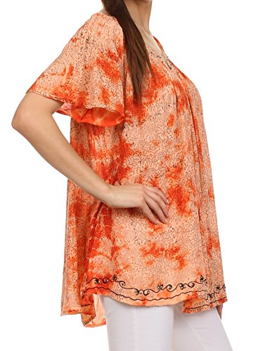 Sakkas Haut Paysan Manches Courtes Col en V Imprimé Vigne avec des Perles et des Broderies Orange