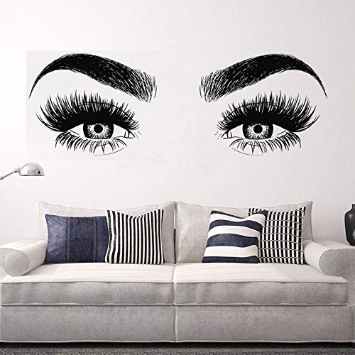 WWYJN Beauty Salon Art Vinyl Wall Sticker Eyes Eyelashes Girl Bedroom Removeable Decal Living Room Home Decoration Poster  42x115cm