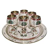 Hand Crafted Metal Brass Glasses Set Wit...