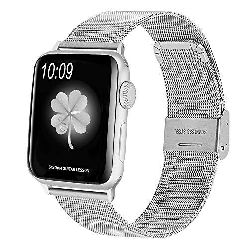 CosyZanx für Apple Watch Armband 38mm 40mm 42mm 44mm, Edelstahl Ersatzarmband mit verstellbare Schnalle Schlaufe Handgelenk Uhrband Ersatz Armreif Uhrenarmband für Apple Watch Series 4 3 2 1