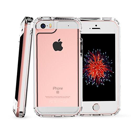 OMOTON iPhone SE/5S/5 Cover [PC + TPU + TPE]Versione Aggiornata , Anti-scivoloso ,Anti-Graffio ,Posteriore Trasparente ,Nero Bianco