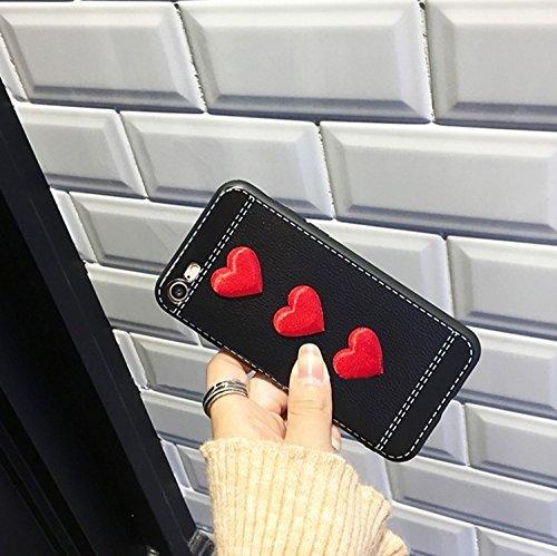 GHC Cases & Covers, Für iPhone 6 Plus & 6s Plus Red Heart Full Coverage Schutzmaßnahmen zurück Fall Fall ( Color : Black ) Black