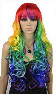 QIYUN.Z Long Wavy Curly Multi-Color Colorful Rainbow Full