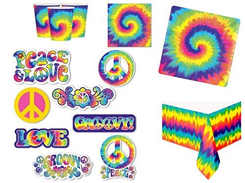 Fancy Me Riesige 63 Stück komplette 1960er Jahre Party Kit Erwachsene Themenparty Kostüm Party Geburtstag Feier Tie Dye Rainbow Hippie 60er Sixties Geschirr Dekorationen