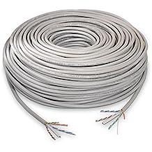 NanoCable 10.20.0502 - Cable de red Ethernet rigido RJ45 Cat.6 UTP AWG24, 100% cobre, gris, bobina de 100mts