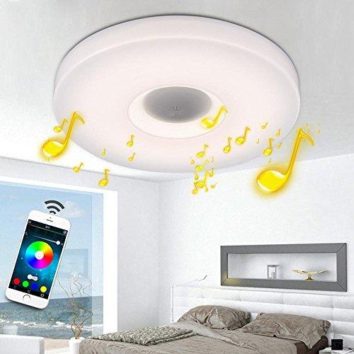 Runde RGB LED bluetooth Musik Deckenlampe Modern bunte Deckenleuchten Smartphone APP Kontrolle Dimmen Lautsprecher Sternenhimmel Fernbedienung Deckenbeleuchtung Für Schlafzimmer Wohnzimmer 24W Ø40CM