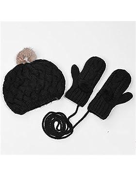 QKR&bellissimi guanti Abito in due pezzi dolce bello ispessimento Lana guanti Tinta unita Mentre maglieria cappello...