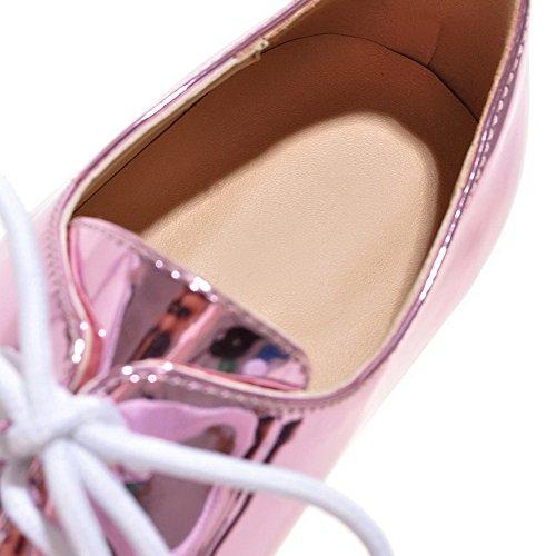 VogueZone009 Femme Couleur Unie Pu Cuir à Talon Bas Pointu Lacet Chaussures Légeres Violet