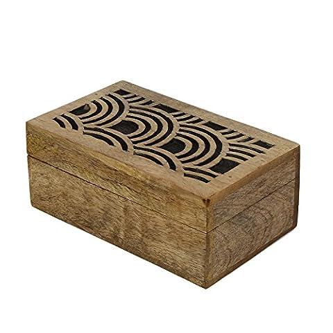 Icrafts Boîte sculpté en bois/bois Boîte à bijoux/Bibelot/souvenir/boîte de rangement