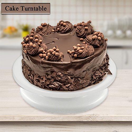 SOEKAVIA Plateau tournant 360 degrés pour gâteau décoration de gâteau plateau rotatif pour pâtisserie 27.5cm(Blanc)
